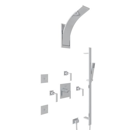 Polished Chrome WAVE THERMOSTATIC SHOWER PACKAGE with Wave Metal Lever