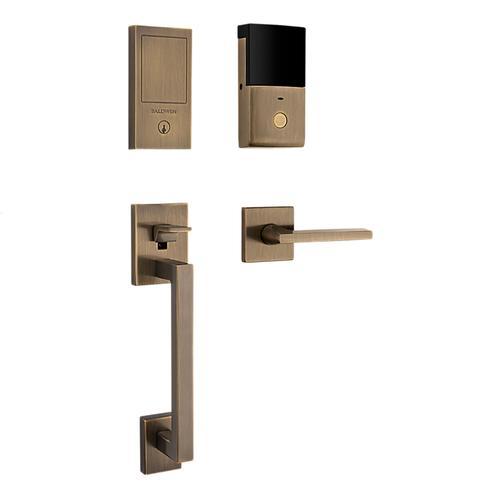 Satin Brass and Black Minneapolis Touchscreen Dummy Handleset