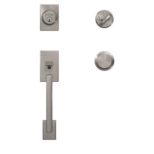 Custom Century Single Cylinder Handleset and Interior Bowery Knob with Kinsler Trim - Satin Nickel