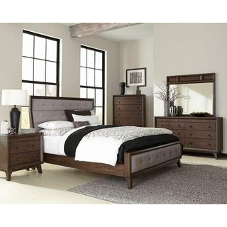 Bingham Retro-modern Brown Upholstered Queen Bed
