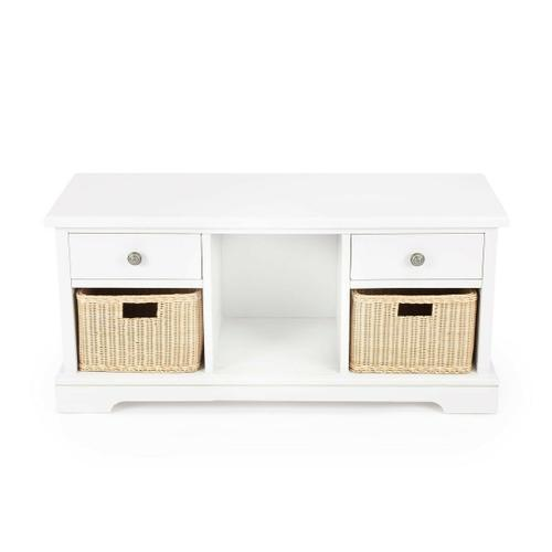 This highly practical storage bench is sure to be a mainstay in any space. Sturdily handcrafted from mindi wood solids in a crisp white finish, it features two convenient drawers with antique silver finished iron pulls for clothing or to stash other neces