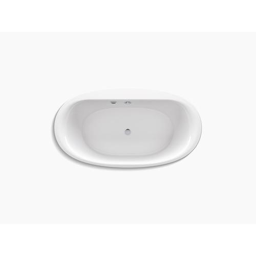 "Biscuit 66"" X 36"" Oval Freestanding Bath With Bask Heated Surface and Fluted Shroud"