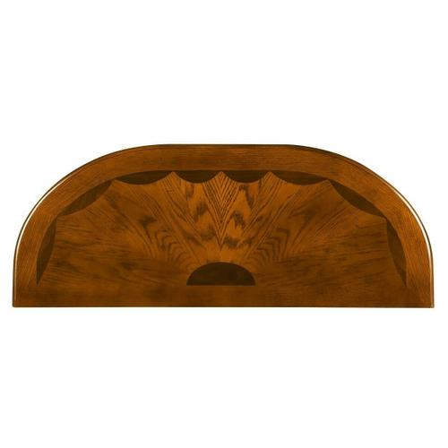 Butler Specialty Company - Selected solids and choice veneers. Maple, walnut and oak veneer inlay top with end grain border and burnished pattern lines. Drawer with antique brass plated hardware.