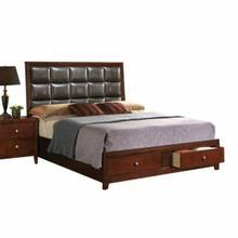 ACME Ilana Eastern King Bed - 24587EK - Brown PU & Brown Cherry -