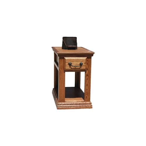 "O-T251 Traditional Oak 1-Drawer 15"" Chair Side Table"