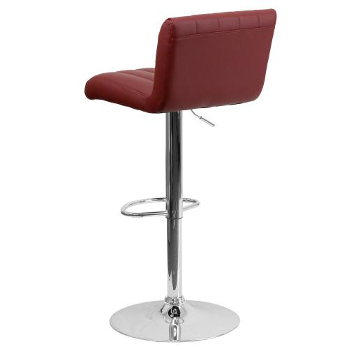 Contemporary Burgundy Vinyl Adjustable Height Barstool with Chrome Base