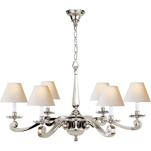 Alexa Hampton Myrna 6 Light 33 inch Polished Nickel Chandelier Ceiling Light