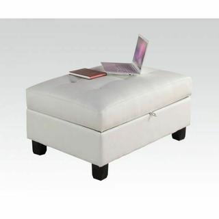ACME Kiva Ottoman w/Storage - 51177 - White Bonded Leather Match