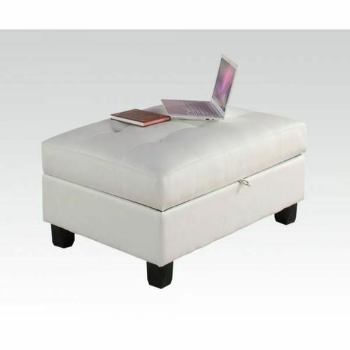 ACME Kiva Ottoman w/Storage - 51177 - White Bonded Leather Match
