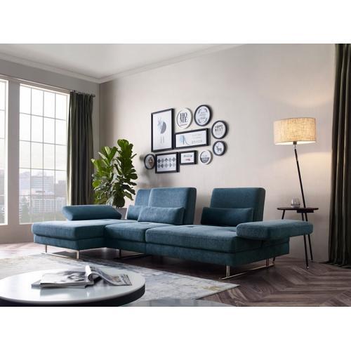 VIG Furniture - Divani Casa Denton - Modern Blue Fabric Left Facing Sectional Sofa