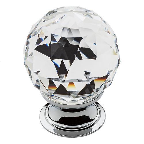 Baldwin - Polished Chrome Swarovski Crystal Cabinet Knob