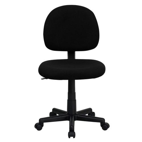 Low Back Black Fabric Swivel Task Chair