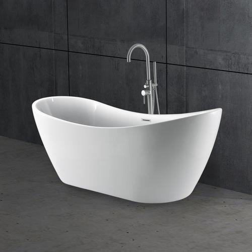 """Nyx 72"""" Acrylic Double Slipper Tub with Integral Drain and Overflow - Polished Chrome Drain and Overflow"""