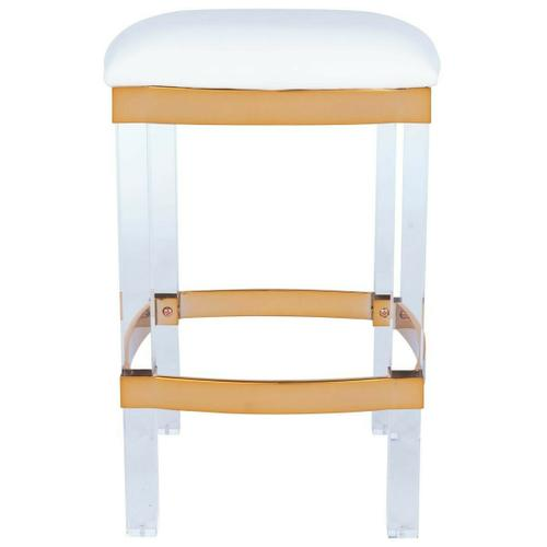 Easily elevate the look of your kitchen with this leather and acrylic counter stool. The beauty of this counter stool is allowed to shine through its design, featuring acrylic legs, a soft seat and metallic trim and foot rest, gives your room an airy gl