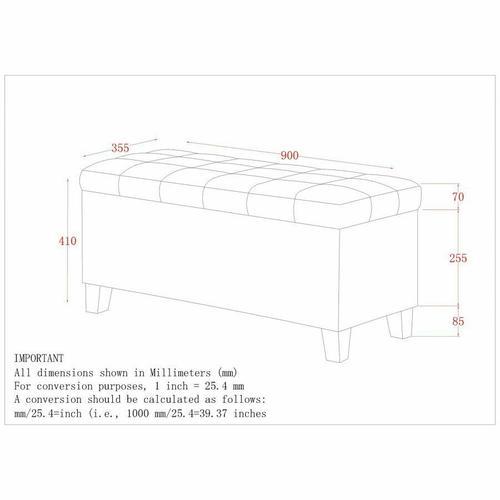 Worldwide Homefurnishings - Lila Rectangular Storage Ottoman in Grey