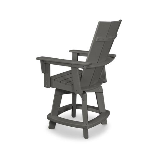 Slate Grey Modern Curveback Adirondack Swivel Counter Chair