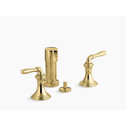 Vibrant Polished Brass Vertical Spray Bidet Faucet With Lever Handles