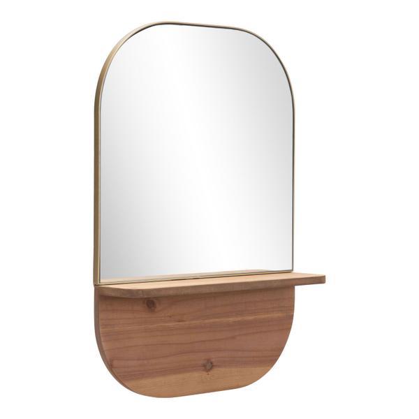 See Details - Meridian Shelf Mirror Gold & Brown