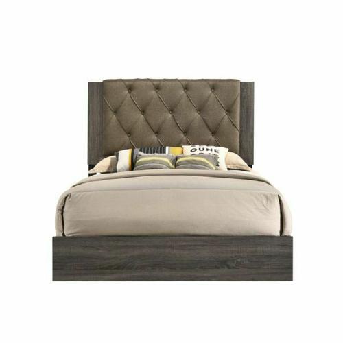 ACME Avantika Queen Bed - 27680Q - Transitional - Fabric, Veneer (Foil), MDF, PB - Fabric and Rustic Gray Oak