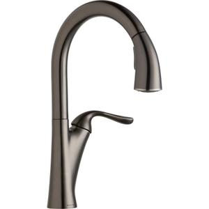 Elkay Harmony Single Hole Kitchen Faucet with Pull-down Spray and Forward Only Lever Handle Antique Steel Product Image