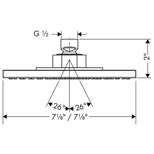Chrome Showerhead 180 Square 1-Jet, 2.5 GPM