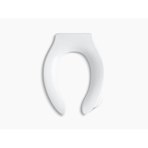 White Elongated Toilet Seat With Integrated Handle and Check Hinge