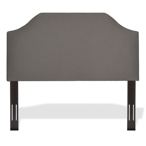 Bordeaux Upholstered Headboard with Adjustable Height and Sweeping Curve Design, Dolphin Finish, Full / Queen