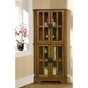 Traditional Warm Brown Curio Cabinet Product Image