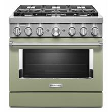 See Details - KitchenAid® 36'' Smart Commercial-Style Dual Fuel Range with 6 Burners - Avocado Cream