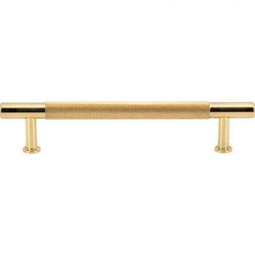 Vesta Fine Hardware - Beliza Knurled Bar Pull 5 1/16 Inch (c-c) Polished Brass Polished Brass