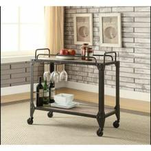 ACME Caitlin Serving Cart - 98174 - Rustic Oak & Black
