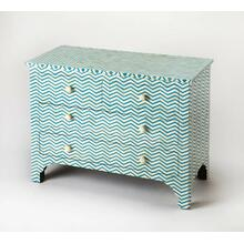 A stunning addition in the bedroom or entryway, this console chest's blue herringbone pattern has a fresh contemporary style. Featuring the natural beauty of bone inlaid against a sea of blue, it is expertly crafted from meranti wood solids and wood pro