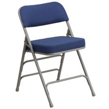 Premium Curved Triple Braced & Double-Hinged Navy Fabric Metal Folding Chair