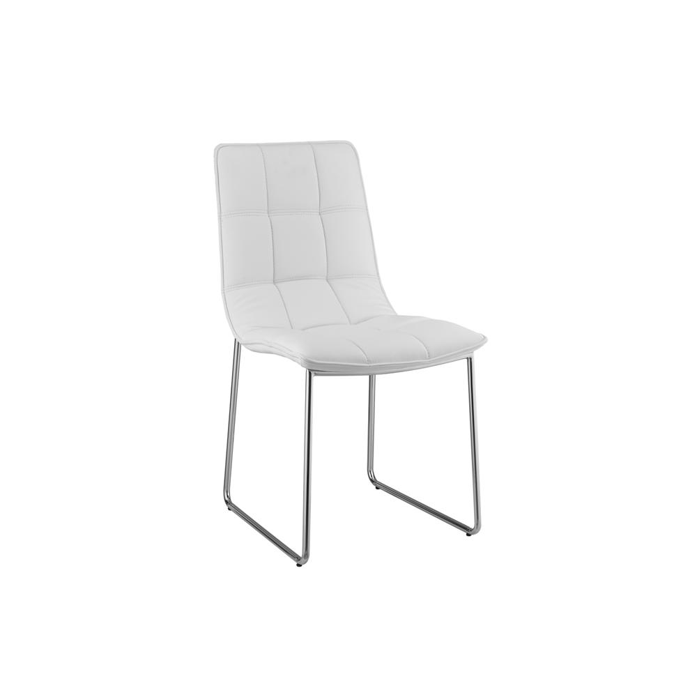 The Leandro White Eco-leather Dining Chairs