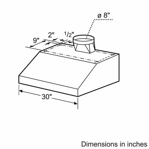 """Bosch - 800 Series, 30"""" Under-cabinet Wall Hood, 600 CFM"""