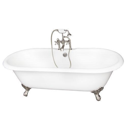 "Duet 67"" Cast Iron Double Roll Top Tub Kit - Brushed Nickel Accessories"