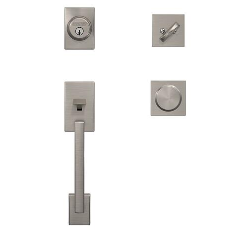 Custom Century Single Cylinder Handleset and Interior Bowery Knob with Collins Trim - Satin Nickel
