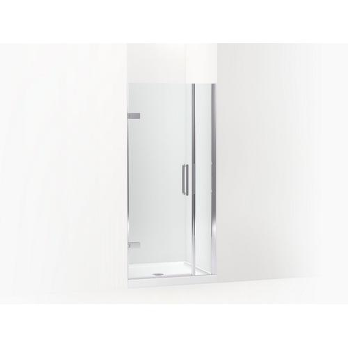 """Kohler - Bright Polished Silver Frameless Pivot Shower Door, 71-9/16"""" H X 33-5/8 - 34-3/8"""" W, With 3/8"""" Thick Crystal Clear Glass"""