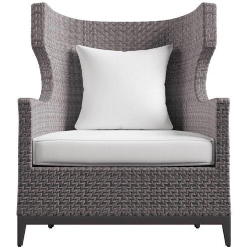 Bernhardt - Captiva Wing Chair in Herringbone Weave All-Weather Wicker in Pewter Gray
