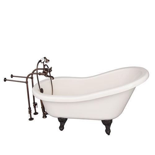 "Fillmore 60"" Acrylic Slipper Tub Kit in Bisque - Oil Rubbed Bronze Accessories"