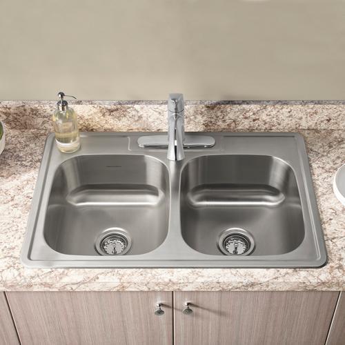 American Standard - Colony 33x22 Double Bowl Stainless Steel Kitchen Sink  American Standard - Stainless Steel