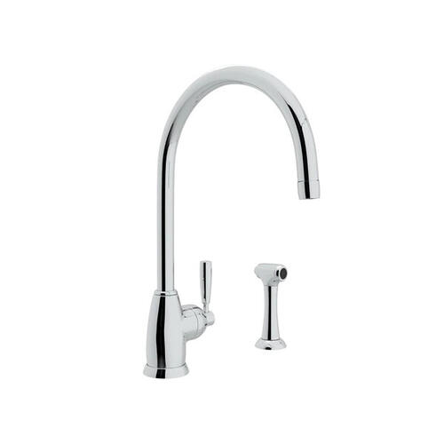 Holborn Single Hole Kitchen Faucet with C Spout and Sidespray - Polished Chrome with Metal Lever Handle