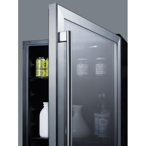 """24"""" Wide Built-in ADA Compliant Commercial Beverage Center for Display and Refrigeration of Beverages and Food, With Glass Door, Digital Controls, Front Lock, LED Lighting, and Stainless Steel Wrapped Cabinet"""