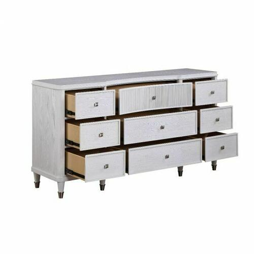 ACME Celestia Dresser - 22125 - Coastal - Wood (Solid Poplar), Wood Veneer (Oak), Poly-Resin, MDF, Ply, PB - Off White