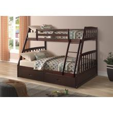 Miller Twin over Full Bunkbed with Storage Drawers, Espresso
