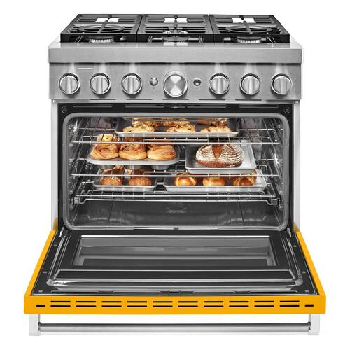 KitchenAid® 36'' Smart Commercial-Style Dual Fuel Range with 6 Burners Yellow Pepper