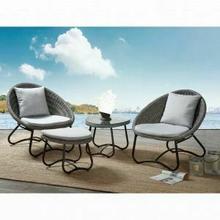 ACME Elof 4Pc Patio Set - 45055 - Fabric & 2-Tone Gray Wicker
