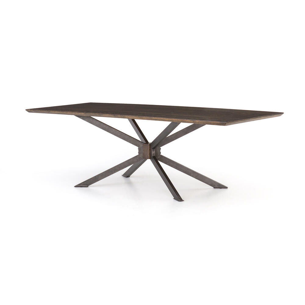 "English Brown Oak Finish 79"" Size Spider Dining Table"