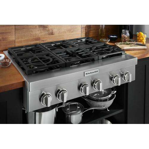 KitchenAid - KitchenAid® 36'' 6-Burner Commercial-Style Gas Rangetop - Stainless Steel