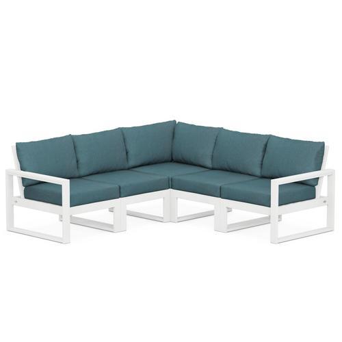 Polywood Furnishings - EDGE 5-Piece Modular Deep Seating Set in White / Ocean Teal